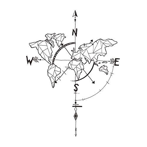 decalmile Negro Mapa del Mundo Pegatinas de Pared...