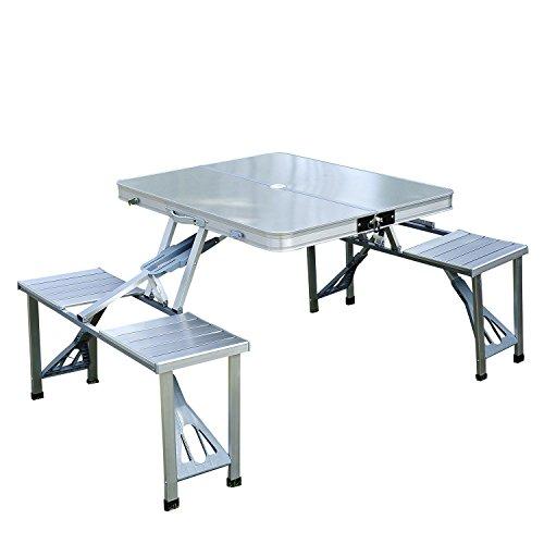Outsunny Mesa Plegable 4 Asientos Aluminio con...