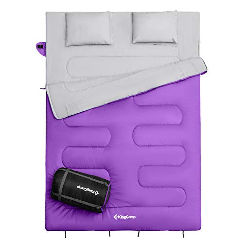 KingCamp Saco de Dormir Doble con Almohadas...