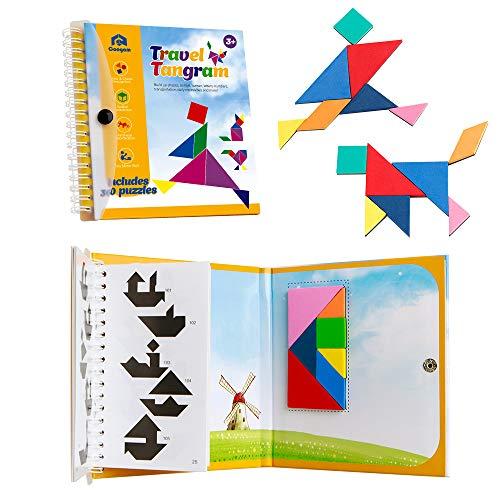 Coogam Viaje magnético Tangram Puzzles Libro...